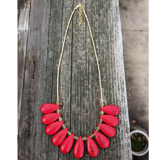 Red Turquoise statement necklace