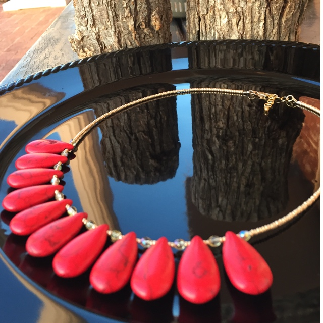 Red Turquoise gold statement necklace