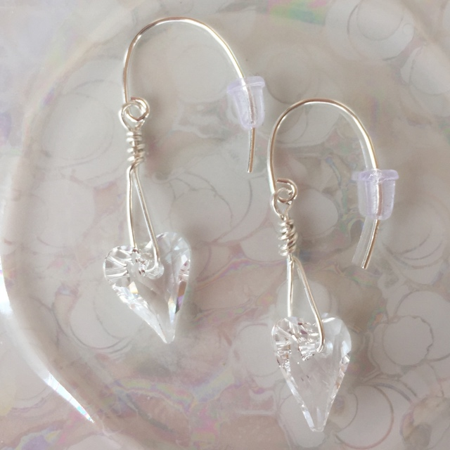 Swarovski crystal heart passion as earrings