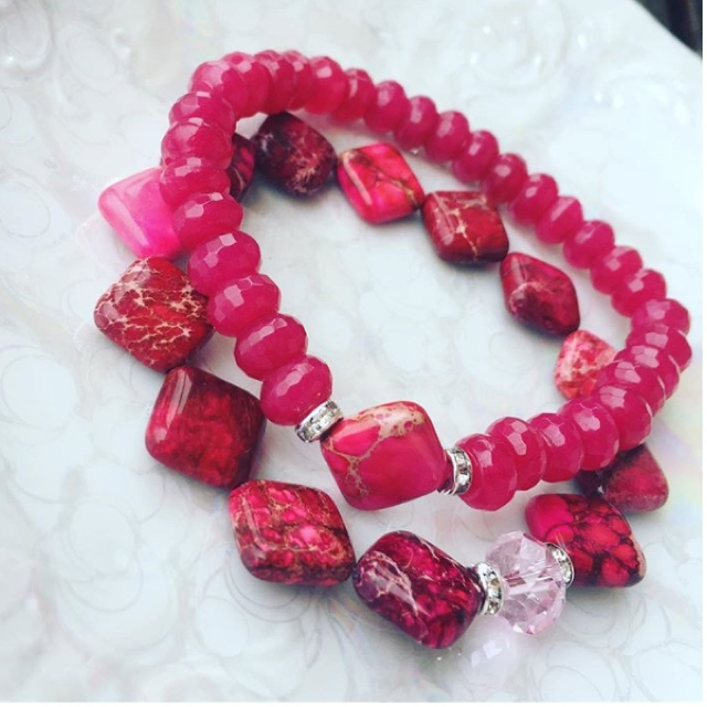 Raspberry Fuchsia gemstone stacking Stretchy Bracelet