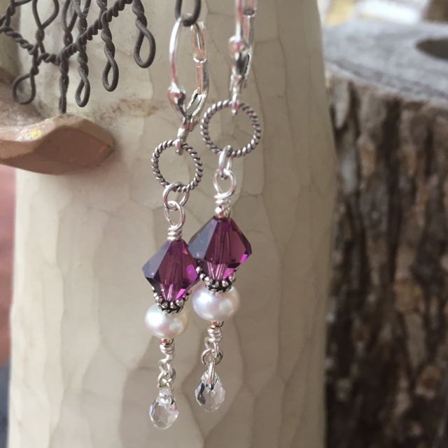 Amethyst Swarovski Crystal Pearl Sterling Silver Drop Earrings