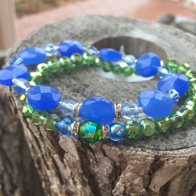 Greenery Blue Crystal Gemstone Neaded Stretchy Stack Bracelets