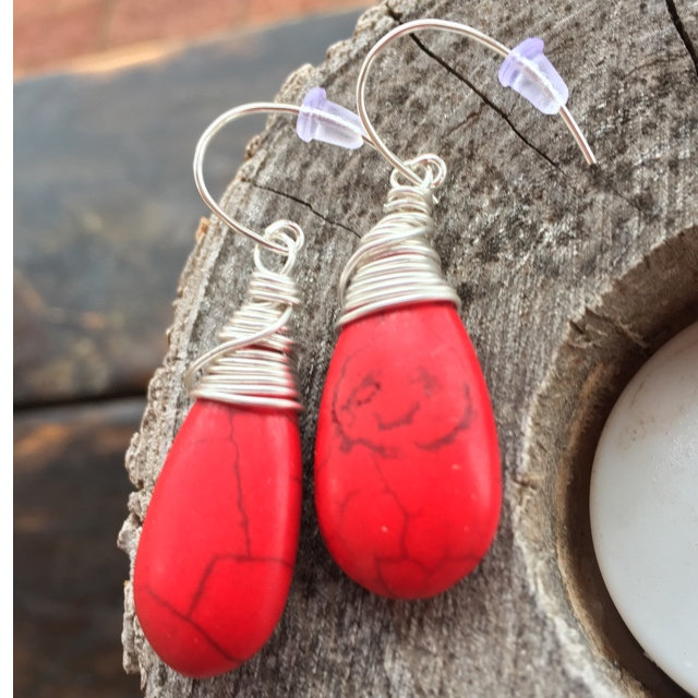 Turquoise Red Teardrop Wrapped in Silver  Earrings