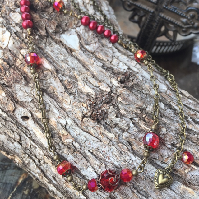 Victoria Valentine Red Crystal Antiqued Gold Necklace