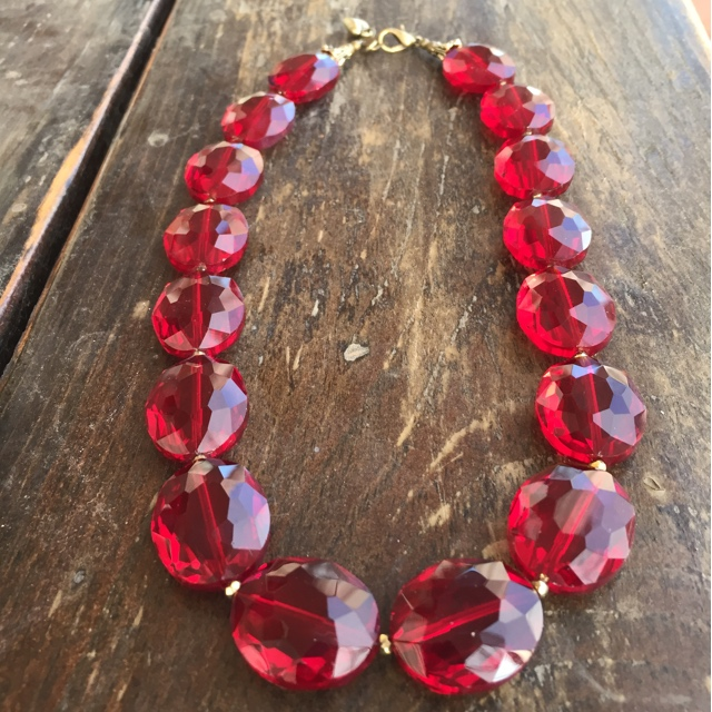 Crimson Red Crystal Statement Necklace