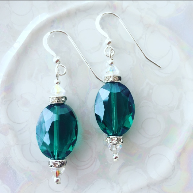 Emerald Green Crystal Sterling Silver  Earrings