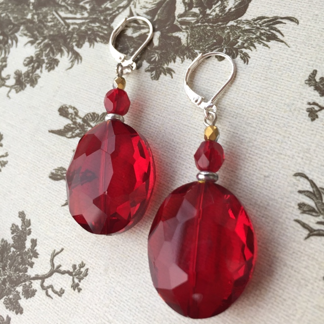 Show Me Some Love ~ Red Crystal Earrings