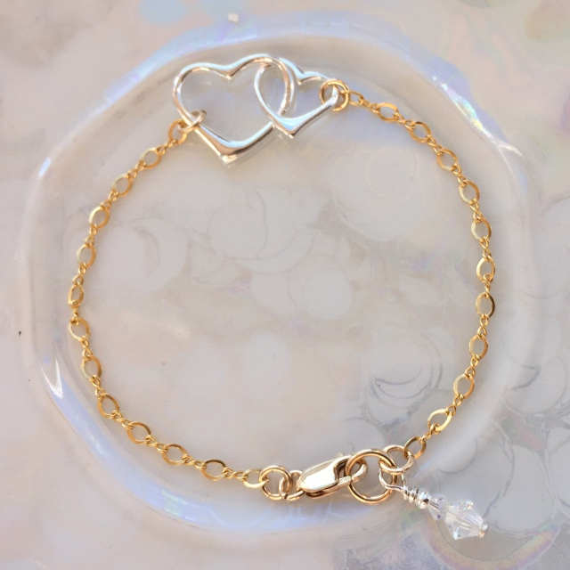 Double Link Open Heart Silver & Gold Bracelet