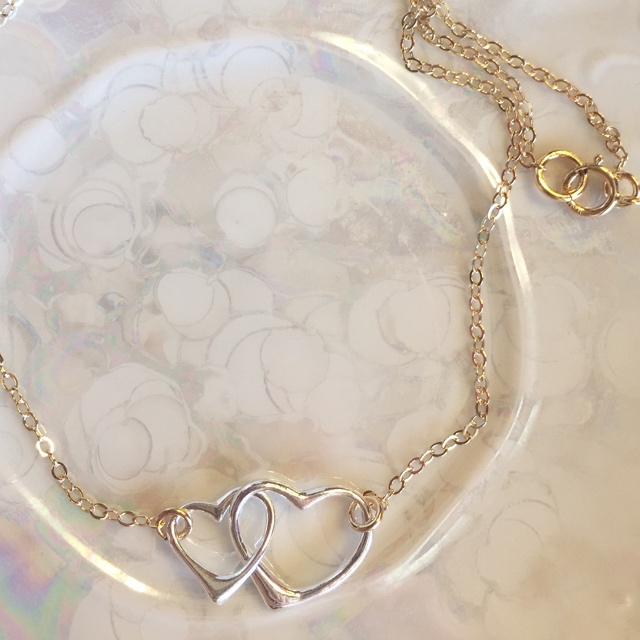 Double Link Open Heart Silver & Gold Necklace 1