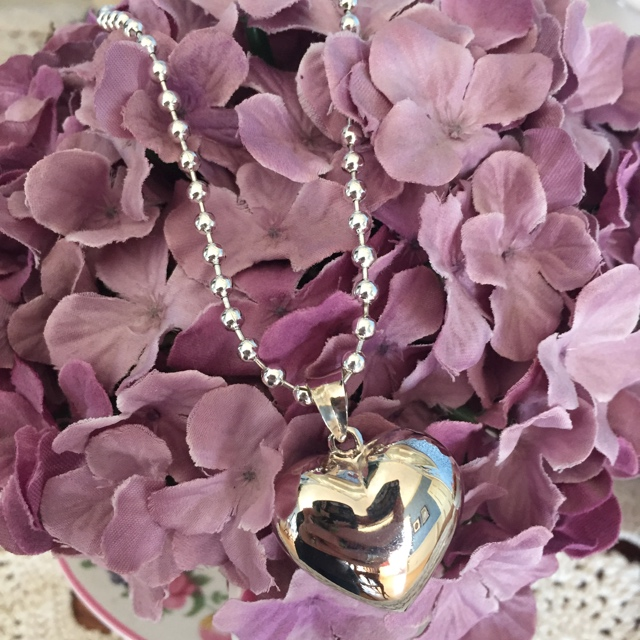 Rosa ~Sterling Silver Heart Pendant Ball Chain Necklace