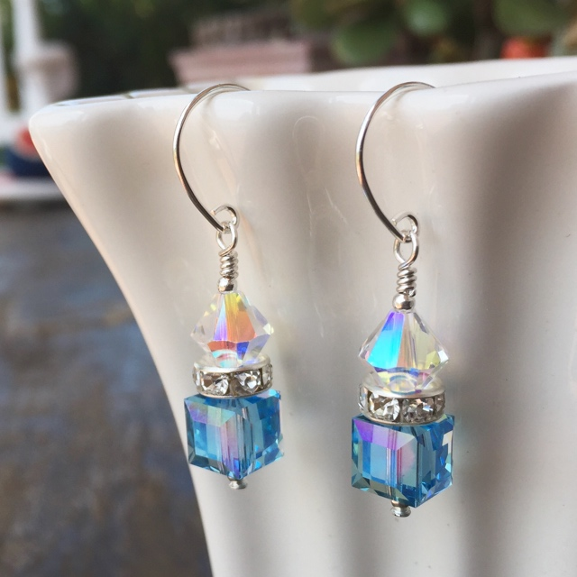 Something Blue Swarovski Crystal Cube Sterling Silver Earrings