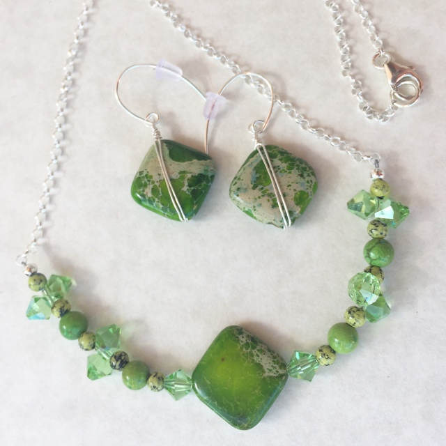 Home Run Peridot Crystal Gemstone Jewelry Set