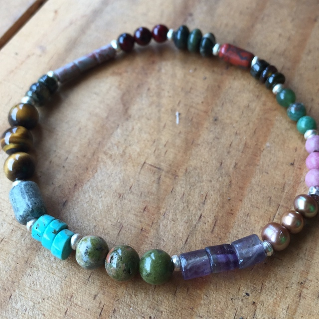 Multi-colored Gemstone Stacking Stretchy Bracelet 2