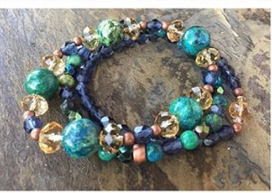 Blue Mosaic Turquoise Copper Boho Stretch Bracelet Collection