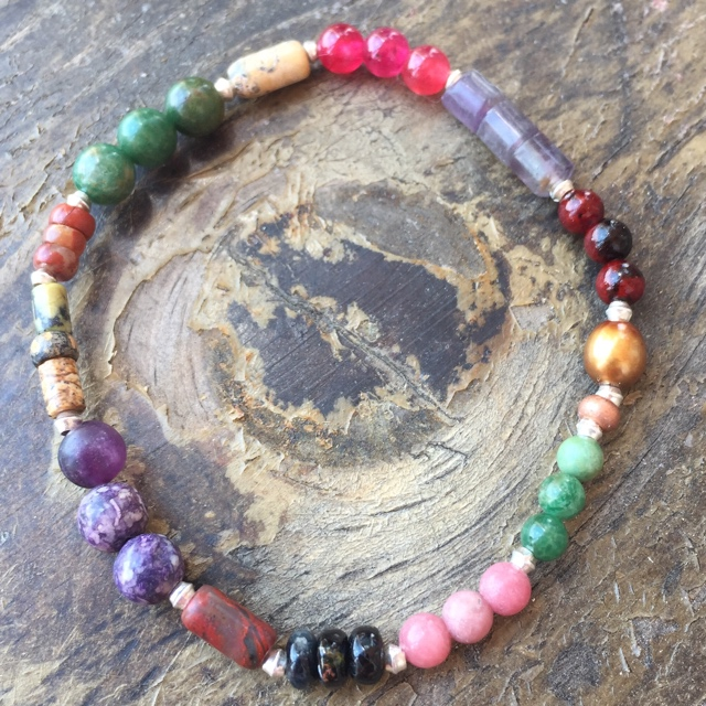 Multi-colored Gemstone Stacking Stretchy Bracelet 3