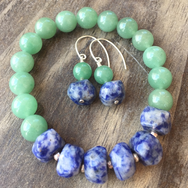 Chunky Denim Blue Green Gemstone Jewelry Set