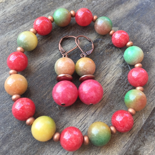 Candy Apple Green & Red Copper Gemstone Jewelry Set
