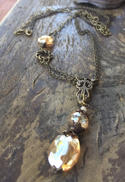 Golden Elegance Topaz Crystal Statement Brass Necklace
