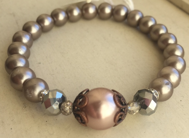 Cappuccino Pearls Stretch Stacking Bracelet  2