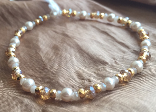 Gold Champagne Skinny Pearl Crystal Stacking Bracelet