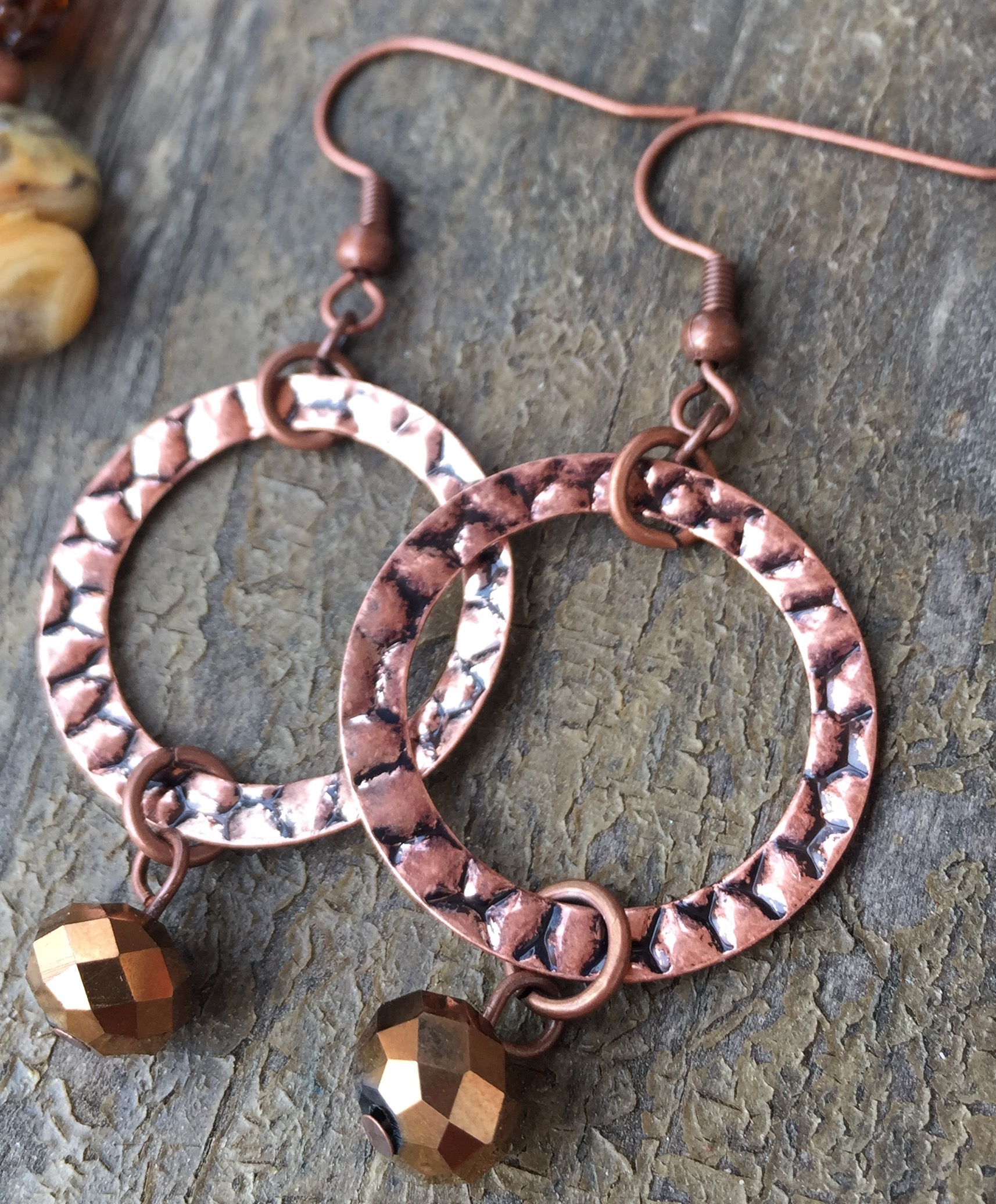 Spicey Suede Copper Ring Crystal Earrings