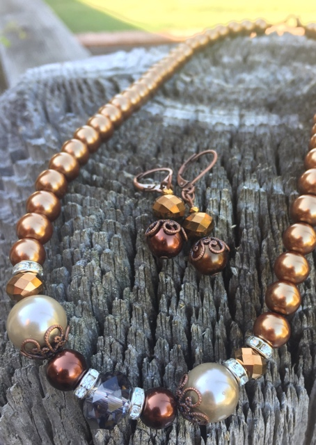 Spicy Suede Oak Crystal Copper Pearl Fall Jewelry Set