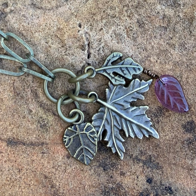 Triple leaf antique gold charm necklace