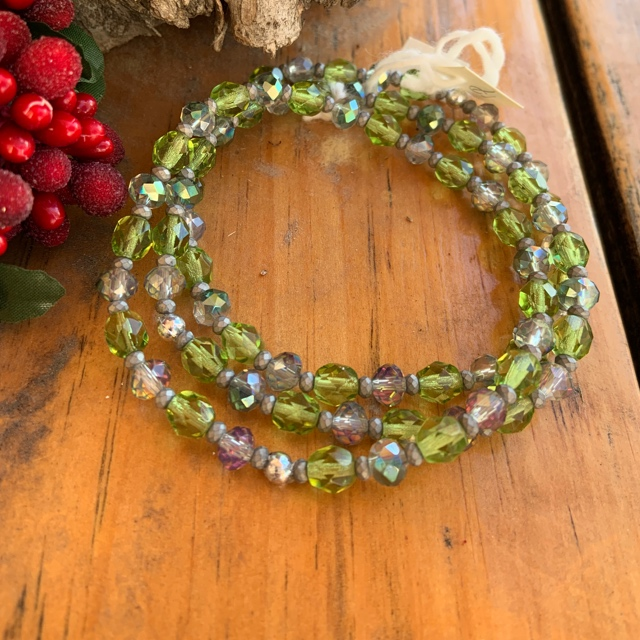 Simple Peridot Green Silver Grey Crystal Stretch Stacking Bracelet