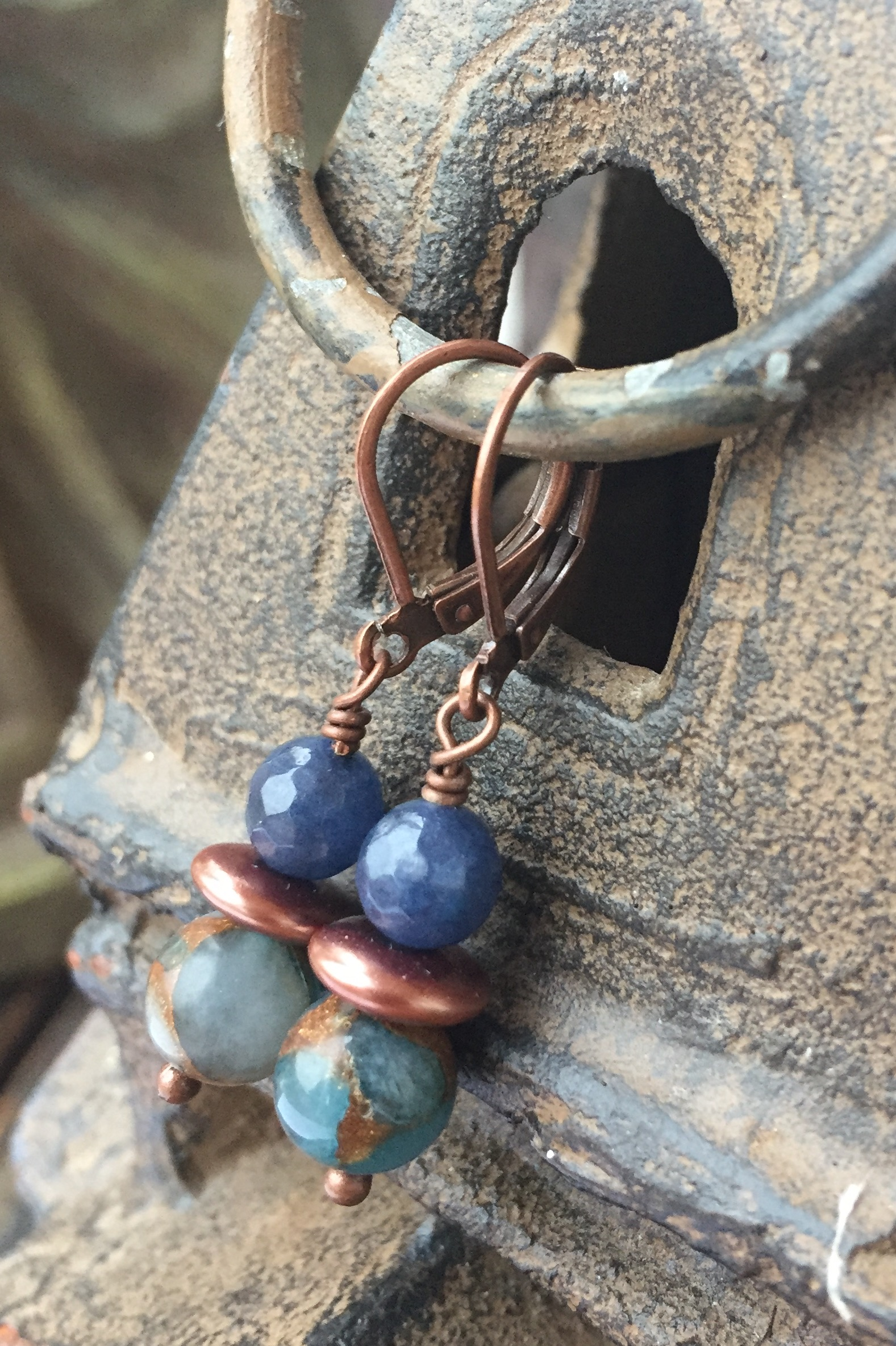 Blue gemstone Denim copper  earrings