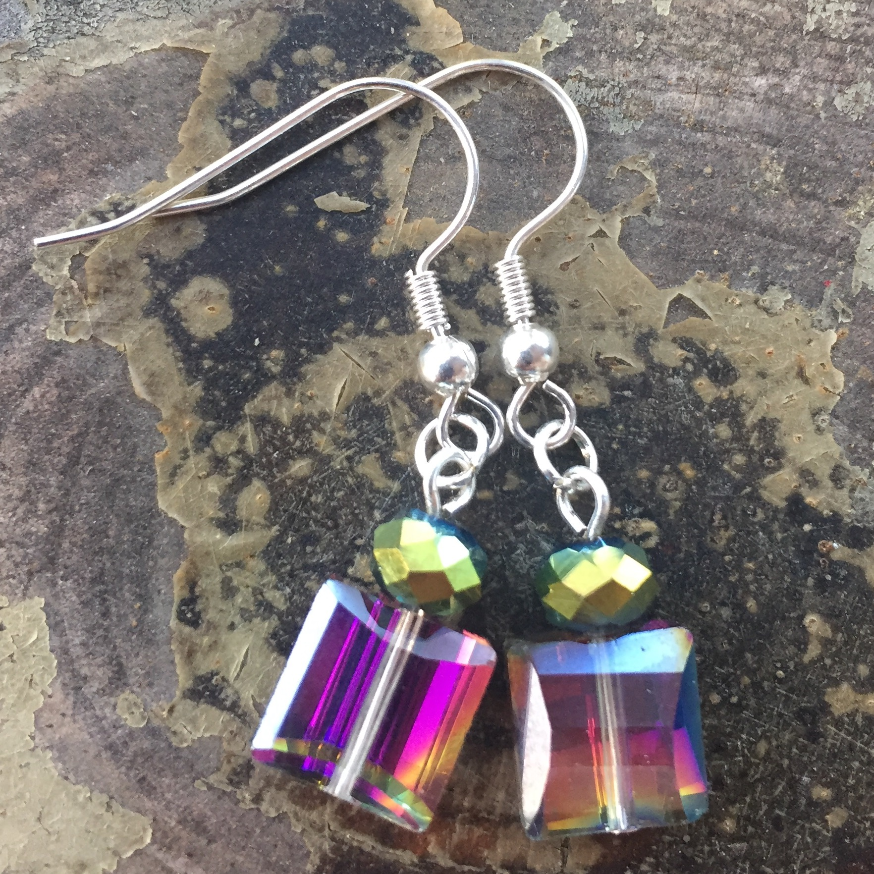 Emerald raindbow crystal silver earrings