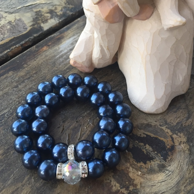 Mommy and Me Matching Indigo Blue Glass Pearl Crystal Stretch Bracelets