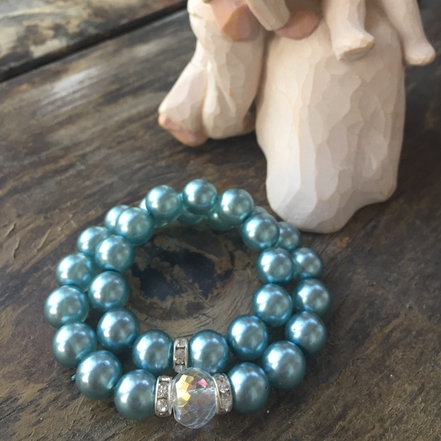 Mommy and Me Matching  Aqua Blue glass Pearl Crystal Stretch Bracelets