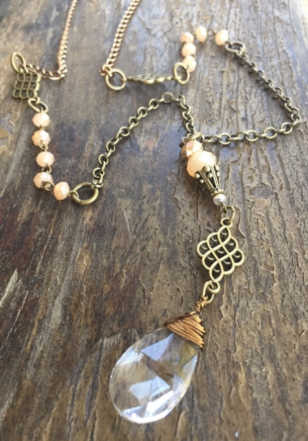 Artisan Brass Gold Crystal Teardrop Statement Necklace