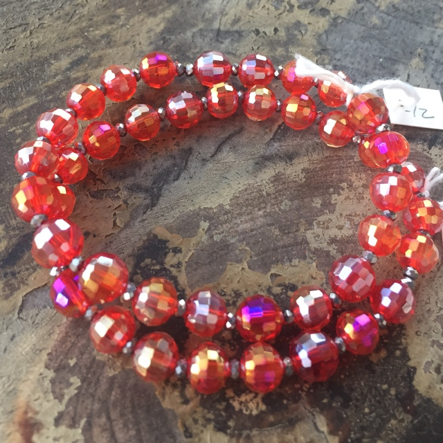 Holiday Crystal Red Stretch Stacking Bracelet