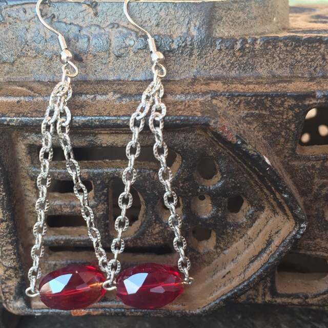 Red Quartz Crystal Chandelier Chain Earrings