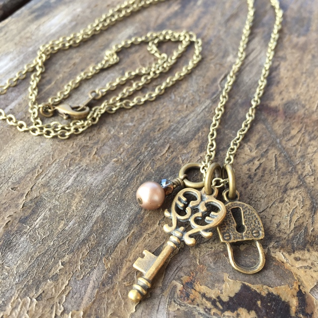 Unlock My Heart ~ Brass Pearl Crystal Charm Necklace
