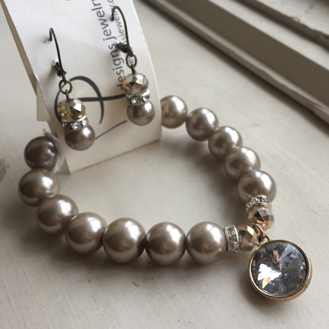 Golden Taupe Fancy Pearl Crystal Bracelet Earrings Set