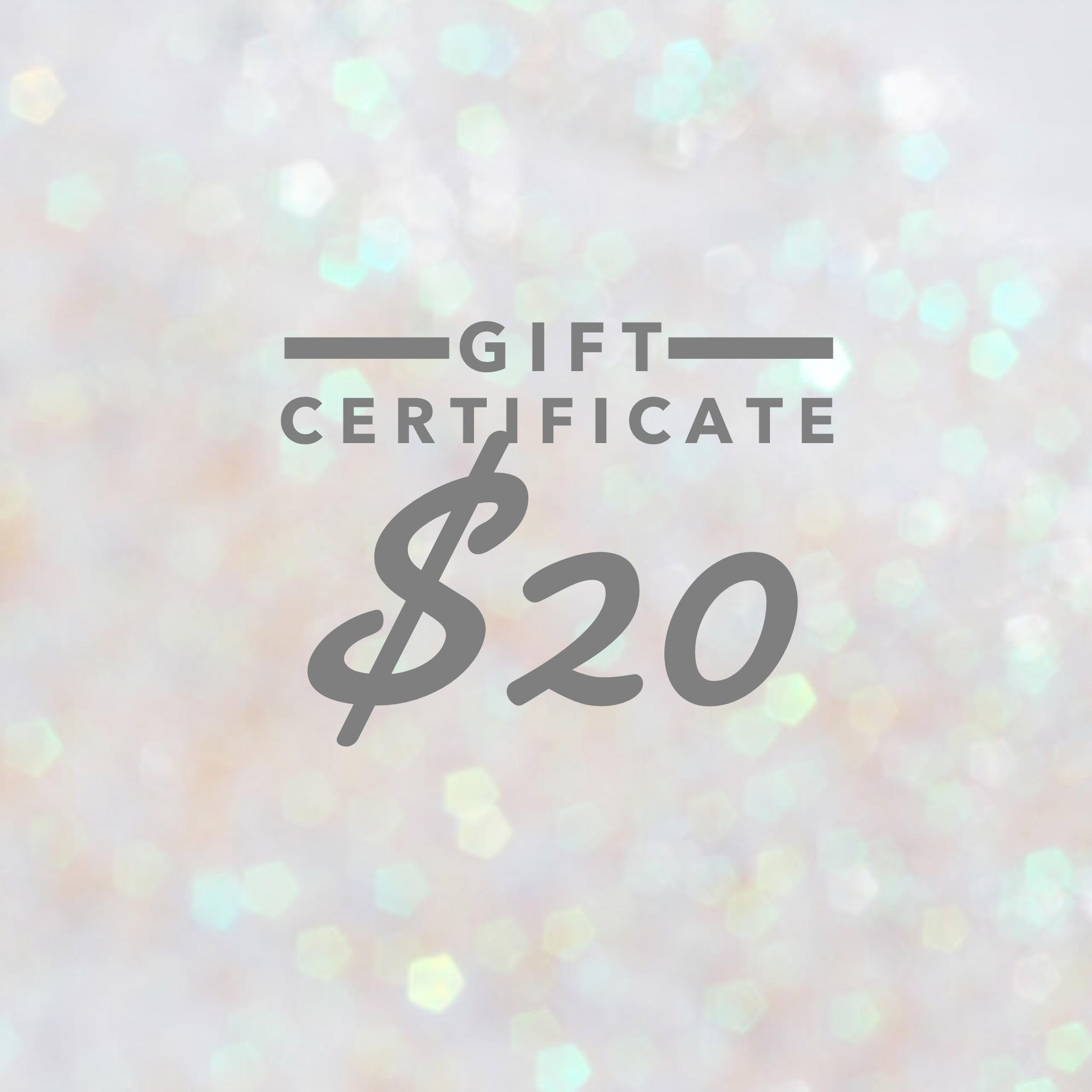 Gift Certificate $20.00