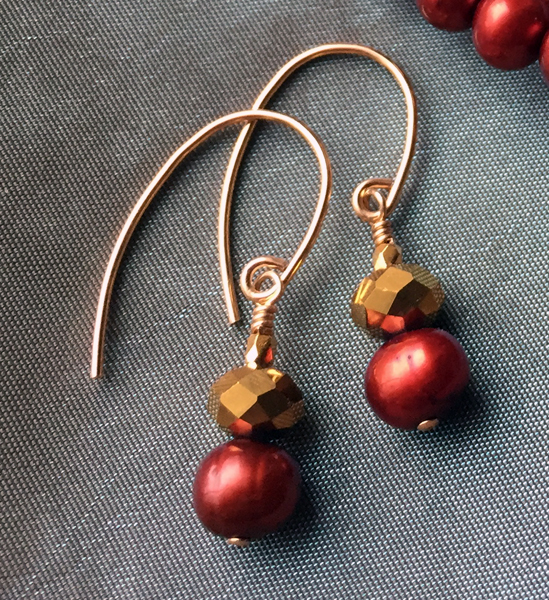 Garnet Pearl Gold Earrings