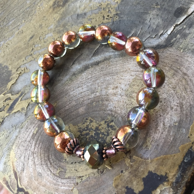 Fall Rainbow Copper Stretchy Bracelet