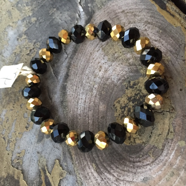 Black and Gold Crystal Stretch Bracelet
