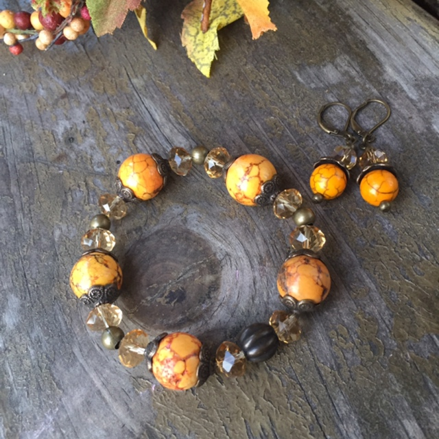 Orange Pumpkin Harvest Gold Jewelry Set