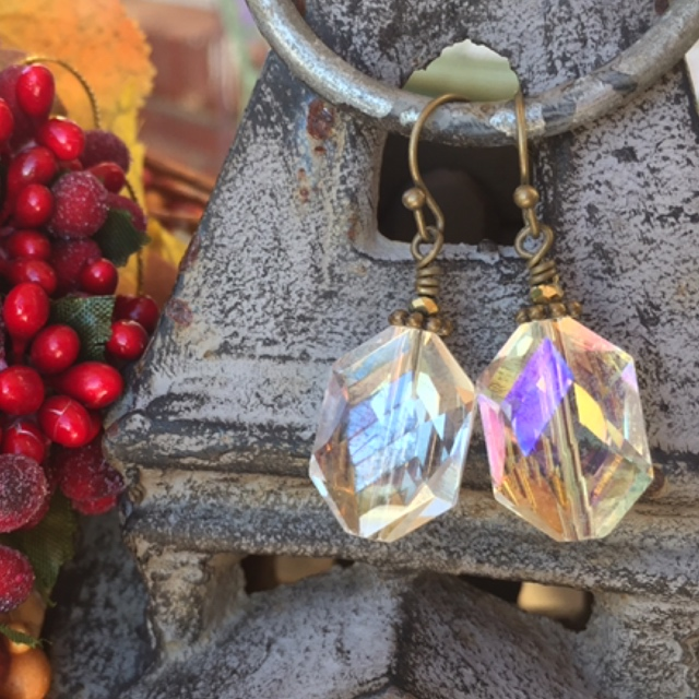 Holiday Crystal Hexagon Bronze Earrings