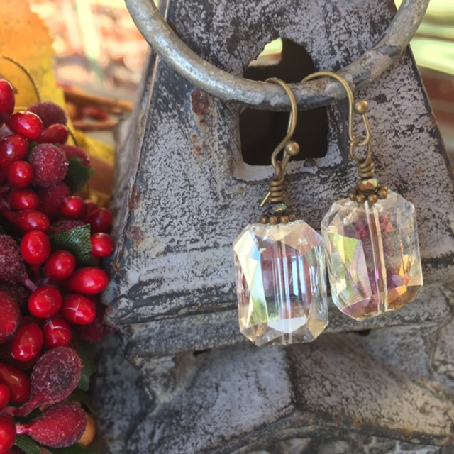 Holiday Crystal Rectangle Bronze Earrings