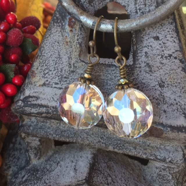 Holiday Crystal Round Bronze Earrings