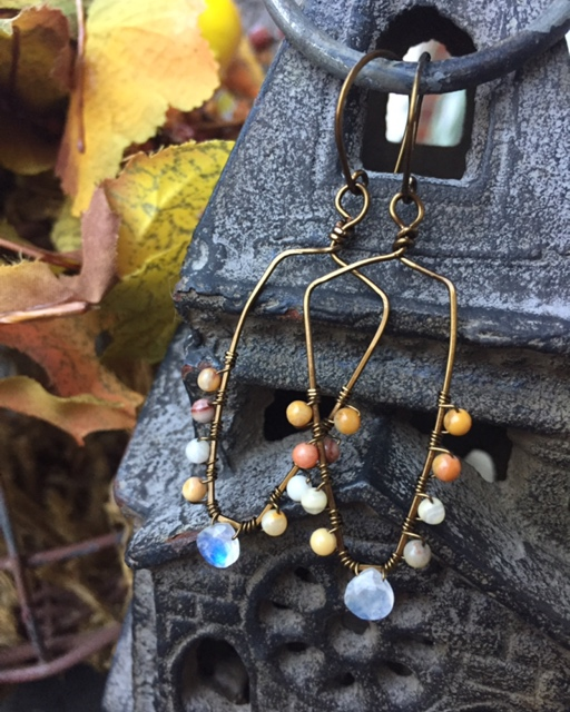 Moonstone Fall Gemstone Bronze Hoop Earrings