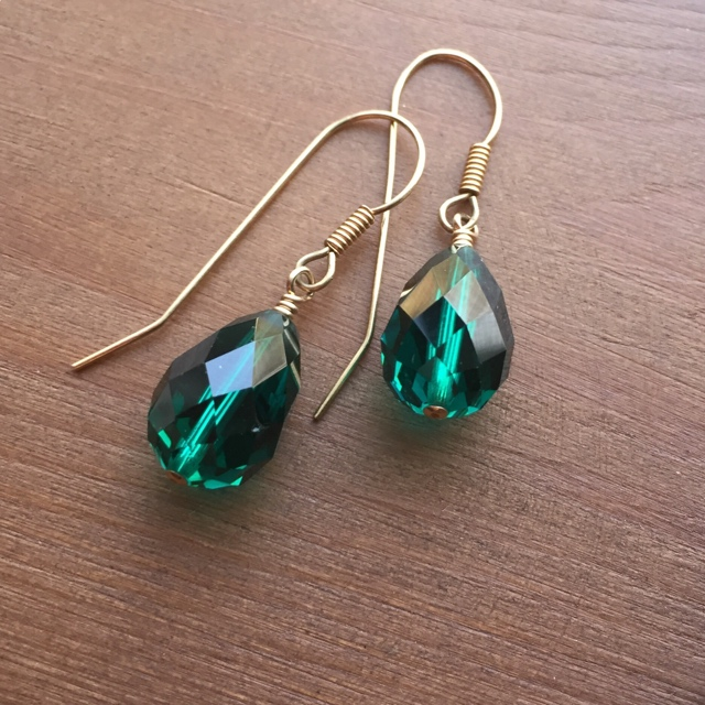 Vintage Holiday Swarovski Emerald Green Gold Earrings