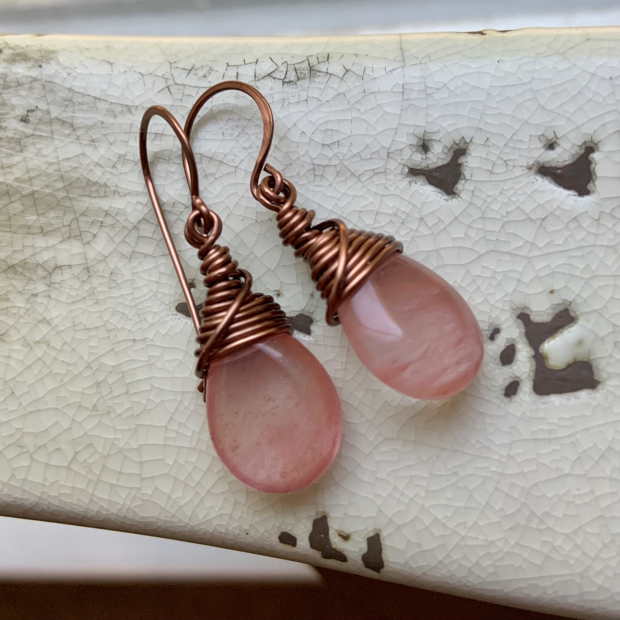 Cherry Quartz Champagne Crystal Bronze Wire Wrapped Earrings