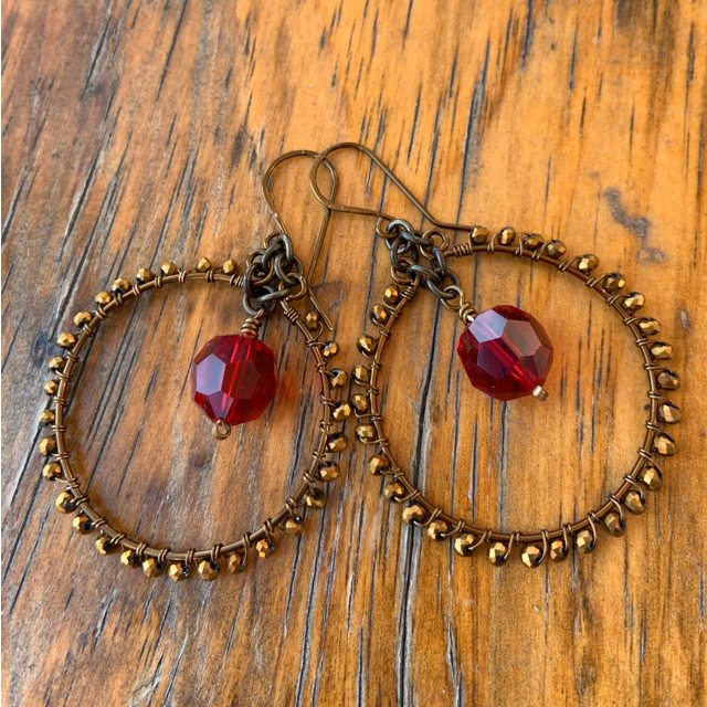 Vintage Red Swarovski Crystal Round Wire Wrapped Crystal Earrings
