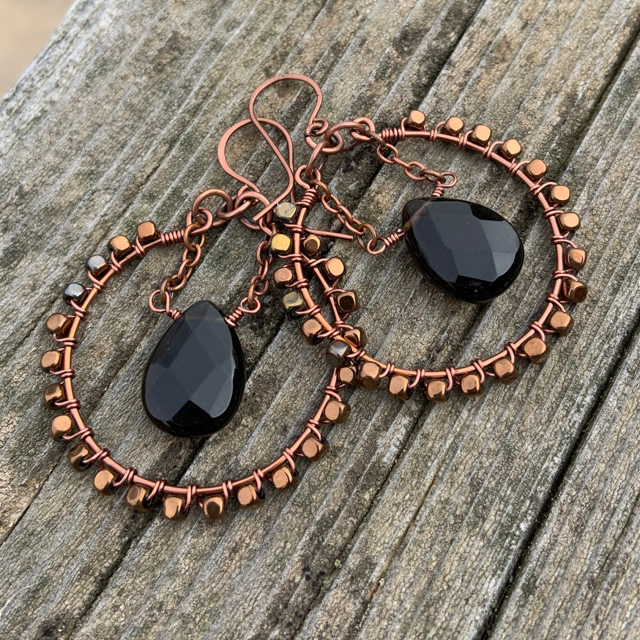 Copper Hematite Smokey Quartz Wire Wrapped Round Hoop Earrings